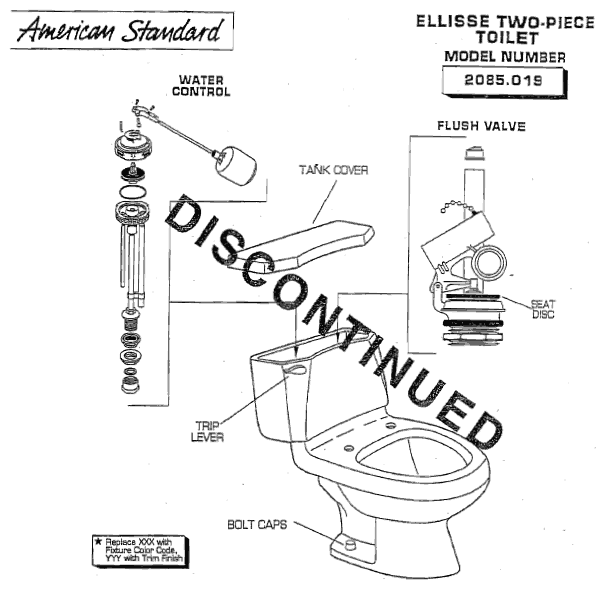 replacing toilet tank parts.  American Standard 2085 019 Ellisse Two Piece Toilet Replacement Parts
