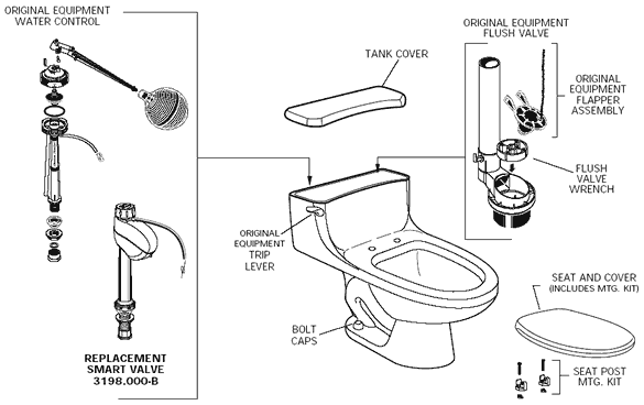 American Standard 2092 017 Hamilton One Piece Toilet Parts